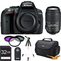 Nikon D5300 DX-Format 24.2 MP DSLR (Black) 55-300mm VR Pro Lens and Memory Bundle - Includes Camera, 55-300mm Lens, 32GB SD Memory Card, 58mm Deluxe Filter kit, Wireless Shutter Release Remote Control, Carrying Case, and 59