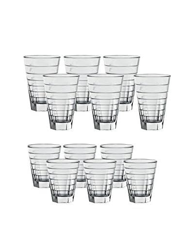 D&V 12-Piece Aneli Glass Set, Clear
