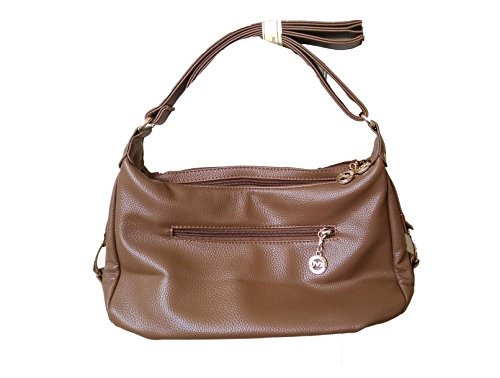 Di Grazia Italian Genuine Leather Womens Multiple Pockets Shoulder Satchel  Sling Cross body Bag - Brown 8cc0f0ada56d8