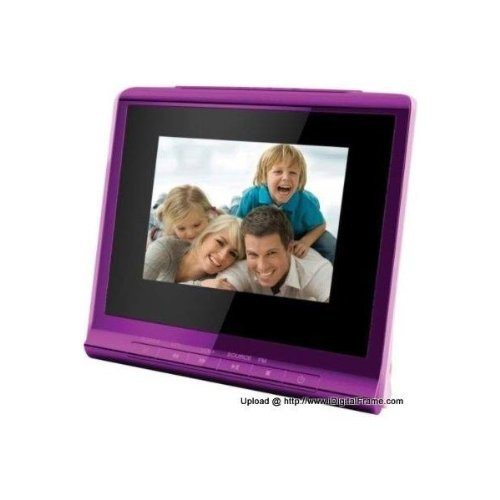 Lowest Price! Coby Digital Photo Album With Alarm Clock, 3.5 Inches (Purple)