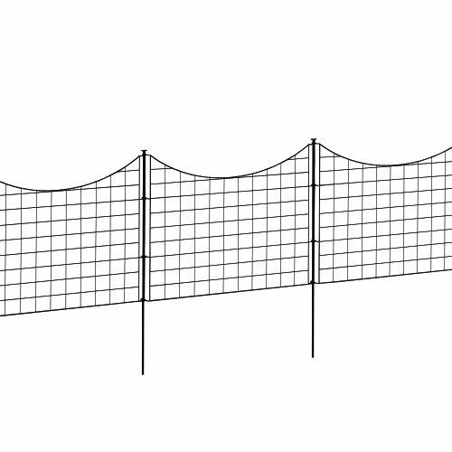 Metal Garden Fence Black Border Mesh Wire Scalable Guard