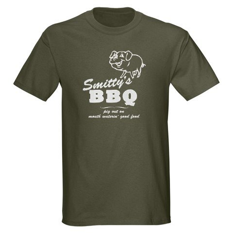 Smitty's BBQ Military Green T-Shirt Food Dark T-Shirt by CafePress
