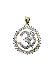 Vama Collections One Gram Gold Plated Om Omm Pendant With Cubic Zirconia Diamond For Men Women Children - B00ORNI8HS