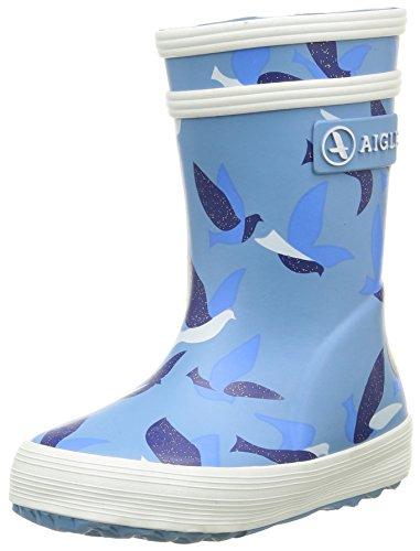 AigleBaby Flac Glittery Gummistiefel - Stivali da Pioggia Unisex per bambini , Blu (Blue (Rose/Birds)), 36