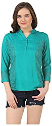 Fem&Her Women's Button Front Top (PP21, Dark Turquoise, 34)