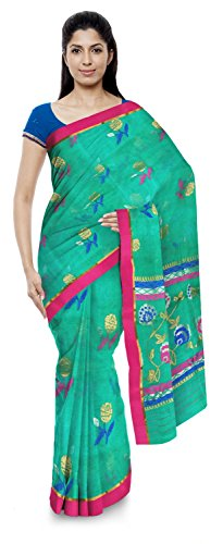 Akram Sarees Women's Kota Doria Handloom Cotton Silk Saree With Blouse Piece (Green)