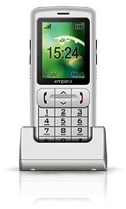 Emporia Safety Plus Handy (6 cm (2,4 Zoll) mit TFT Farbdisplay, Notruf-Funktion und  GPS Ortung, Fallsensor, mobiler Notrufuhr und Tischladestation) silber