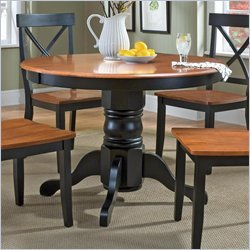 Pedestal Dining Table with Cottage Oak Top in Black Finish