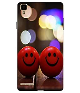 Case Cover Smiley Balls Printed Red Hard Back Cover For Oppo F1 Selfie