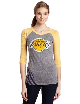 NBA Los Angeles Lakers Originals Big Stripes Tri-Blend Three Quarter Raglan Shirt... by adidas