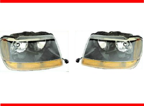 1999-2004 Jeep Grand Cherokee Laredo Headlight Set Lh Driver And Rh Passenger Headlights 99 00 01 02 03 04 (These Headlamps Will Also Fit The Limited Model) 1999 2000 2001 2002 2003 2004 Left And Right Hand Headlamp Pair
