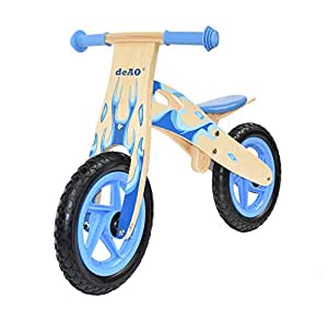 KIDS WOODEN BALANCE TRAINING BIKE CYCLE IN MULTI COLOURS (FLAME BLUE)