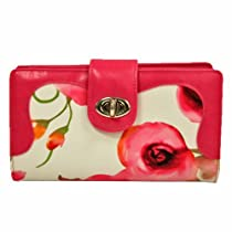 Hot Pink Multi Color Buxton Floral Printed Organizer Wallet