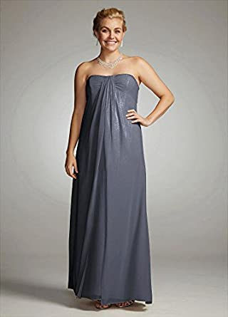 Fog Foil Split Front A-Line Bridesmaid Dress with Beading Lapis / Silver, 10