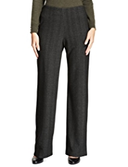 M&S Collection Herringbone Wide Leg Trousers