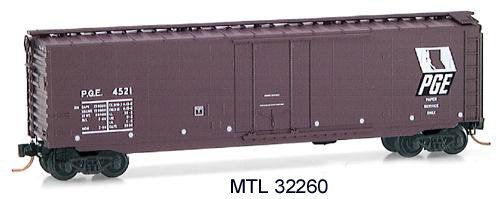 Micro Trains N 32260, 50' Standard Box Car, Plug Door, Pacific Great Eastern PGE #4521 (N Scale)