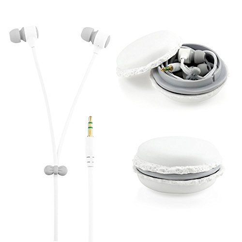 White 3.5mm In Ear Earphones Earbuds Headset with Macaron Case For LG GM360 Viewty Snap (Lg Gm360 Case compare prices)