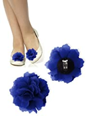 Crinkle Chiffon Clip on flower - Royal