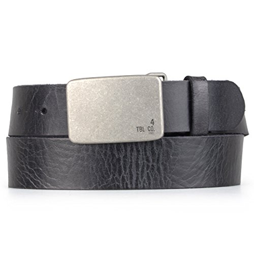 Timberland Mens Genuine Leather Plaque Buckle Belt