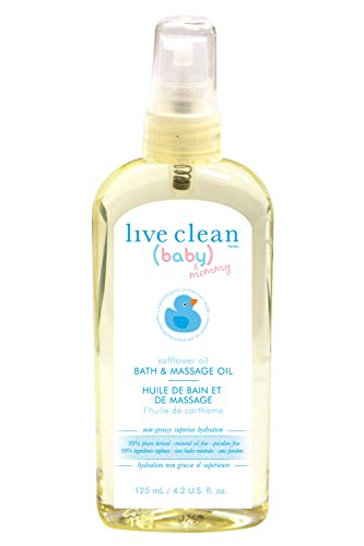 Live Clean Baby & Mommy Organic Safflower Oil Bath and Massage Oil 4.2 fl.oz - 1