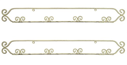 Horizontal Wrought Iron Antiqued Finish Mini Plate Holder Display Rack, Holds 4 Plates, MHPRSL Set/2