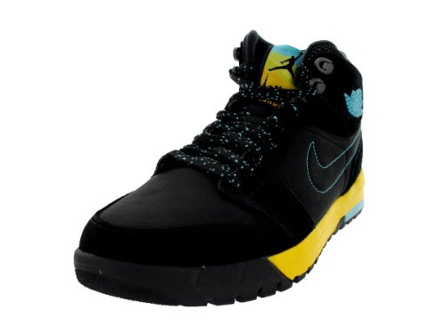 4b85c25cefbfe7 Nike Jordan Men s Air Jordan 1 Trek Black Gamma Blue Varsity Maize Boot 12  Men US