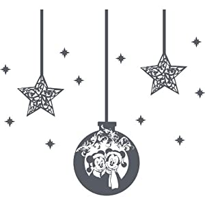 Set of 13 Christmas Decorations 1 bauble x 30 cm, 2 stars - 21 cm, 10 stars - 5 cm Colour Dark Gray Christmas Baubles Mickey mouse and Minnie mouse, Childs Bedroom, car vinyl, Windows and Wall Sticker, Wall Windows Art, Xmas Decals, Ornament Vinyl Sticker