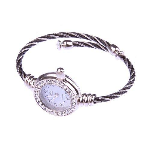 Bestdealusa Fashion Wire Round Design Arab Numerals Dial Female Bracelet Quartz Watch