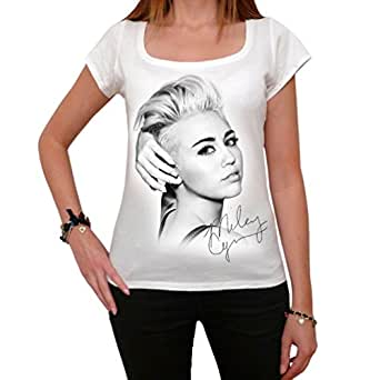 Miley Cyrus, tee shirt femme, imprimé célébrité - Blanc, XS, t shirt femme,cadeau