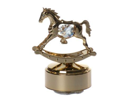 Rocking Horse 24K Gold-Plated Swarovski Crystal Rotating Musical Figurine front-306961