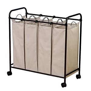 Household Essentials Rolling Quad Sorter Laundry Hamper With Natural Polyester Bags