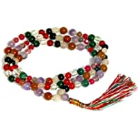 Malabar Gems Natural Navgraha Or Navratna 108+1 Beads Rosary Mala For All Rashi