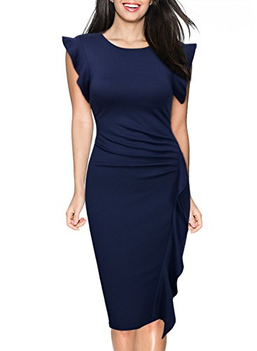 Miusol Women's Retro Ruffles Cap Sleeve Slim Business Pencil Cocktail Dress,Navy Blue,Medium