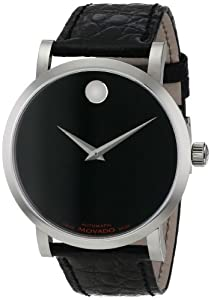 Movado Men's 0606112 Red Label Analog Display Swiss Automatic Black Watch