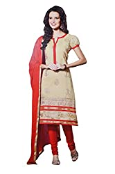 LT Women's Silk Cotton Beige and Red Semi-Stitched Salwar Suit Dress Material With Dupatta