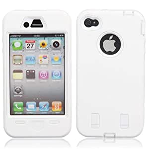JUJEO High Impact Outdoor PC and Silicone Hybrid Case for iPhone 4/4S - White