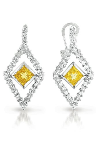 C.Z. AND YELLOW CITRINE RHODIUM PLATED (.925) STERLING SILVER EARRINGS