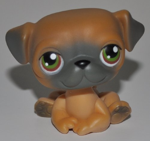 Pug #2 (Brown) - Littlest Pet Shop (Retired) Collector Toy - LPS Collectible Replacement Figure - Loose (OOP Out of Package & Print)