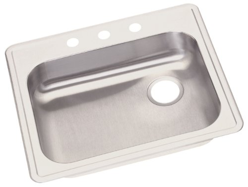 Elkay GE12521R3 Dayton 25-Inch by 24-1/4-Inch Stainless Steel Single Bowl Three-Hole Kitchen Sink, Satin Finish