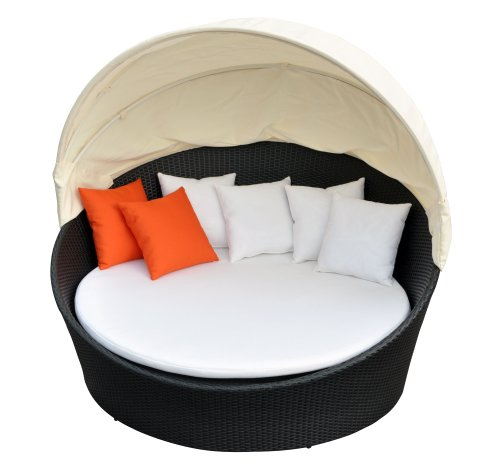 Prime Source Wicker/Aluminum Frame Round Sunbed with Shade and Orange Throw Pillows photo