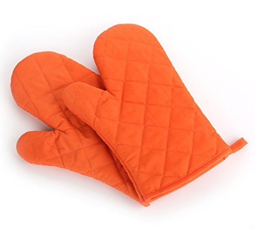 Paico Home Heatproof Microwave Oven Barbecue Gloves Mitts Lattice Grid Orange Size:28Cm Length By 18Cm Width - 2 Pack