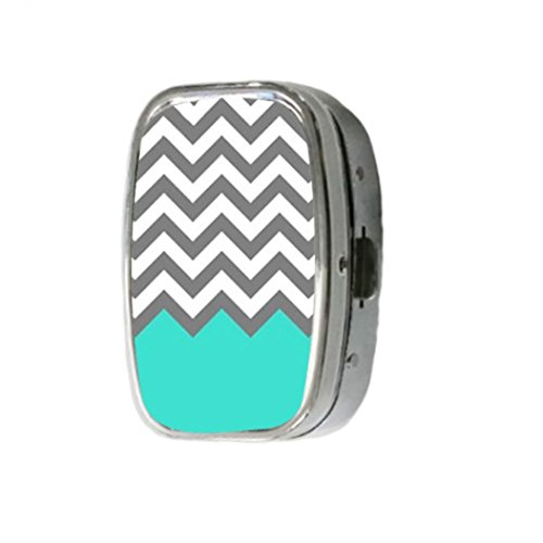 chevron-pattern-turquoise-grey-white-customize-unique-silver-square-pill-box-medicine-tablet-organiz