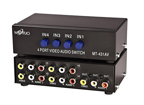 4 Port Video Audio Av Switch - 4 Input 1 Output - 4 DVD to 1 TV - Standard RCA Connectors (Switch Box For Tv compare prices)