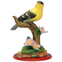 Goldfinch Bird Figurine Porcelain with Flowers on Wood Base - Wildlife Collectible