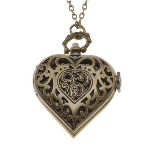 Steampunk-Pocket-Watch-Pendant-Heart-With-Filigree-Lid-And-Chain-53x41mm