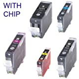 Canon compatible ink MP950 / Canon MP960 / Canon MP970 / Canon MX850 / Canon Pro9000 / SET of 5 inks with chip CLI-8 and Pgi-5 inks