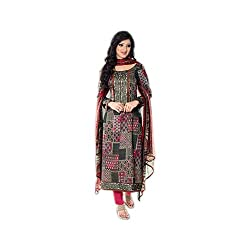 Paridhan Women'S Grey Cotton Embroidered Suit 16102A