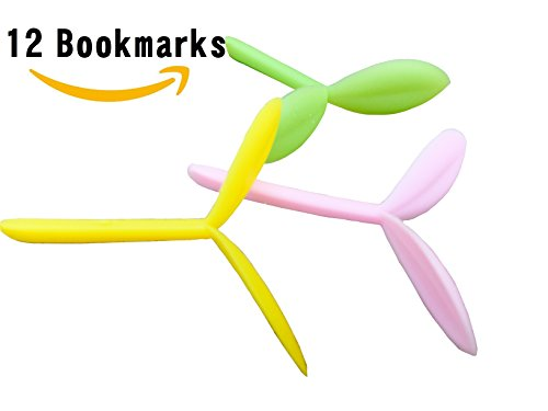 Best Value Pack: 12 Pieces Bulk Unique Nature Sprout Silicone Cute Bookmark Original Style Gift for Young Adults, Kids, Students, Men, Women and Children. Three colors: yellow, pink and green.