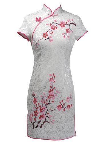Topwedding Pure Cotton Mini Qipao Cheongsam with Plum Blossom Pattern, White and Fuchsia, M