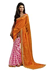 Sareez Orange & Off White Color Bhagalpuri Silk Saree